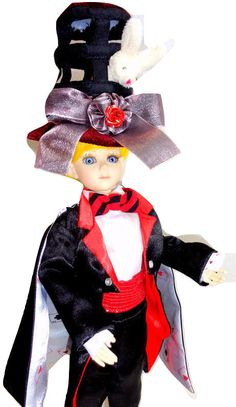 "MAGICIAN 12"" Dressed Doll Resin BJD Goodreau + Dollheart Hat +Mini Playing Cards - Tiny & Anthro"
