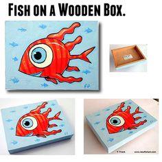 Fish art on a wooden box.  By F.Frank.  • #painting #art #ffrank #fishpaintings #artwork #ocean #artistsoninstagram #fishart #comic #newfishart #popart #illustrationartists #pacificocean #fish #ocean #instaart  #newideas #characterdesign #colorfulfish #comicstyle #contemporaryart  #kunst #fische #cartoonart #aquarium #fishtank #goldfish #artforsale Fish Artwork, Fish Ocean, Comic Styles, Colorful Fish, Illustration Artists, Goldfish, Fish Tank, Painting Art, Wooden Boxes