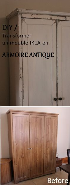 Lovely Ikea hack wardrobe redo DIY tutorial pressed wood to antique finish