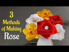 Flower Making : Learn How to Make 3 Easy Methods of Satin Ribbon Rose…