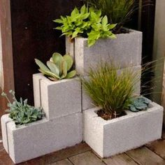 Landscaping | Concrete block planters.
