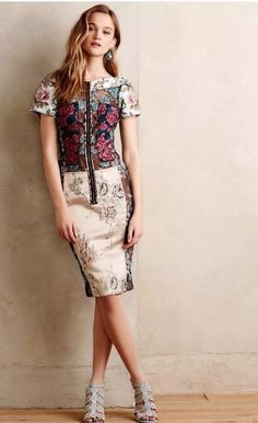 COUTURE Designer Anthropologie Pieced Brocade Dress Byron Lars Size 4 Sold Out! #Anthropologie