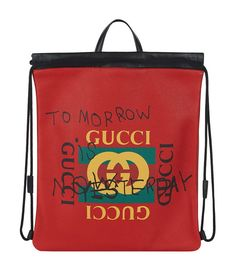 GUCCI Slogan Logo Print Drawstring Bag.  gucci  bags  leather  hand bags   1730fd0d5d5e4