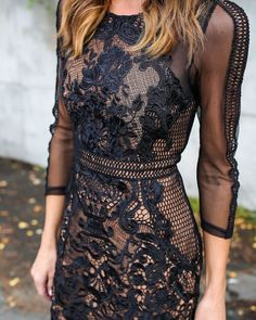 This dress is so designer-eque in lace with mesh accents. The high neck and sheer sleeves add incredible allure to our My Forever Lace Dress. The black crochet lace detail on this statement is backed