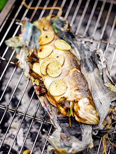 Barbecued Trout in Newspaper   Fish Recipes   Jamie Oliver Best Bbq Recipes, Barbecue Recipes, Grilling Recipes, Seafood Recipes, Cooking Recipes, Cooking Fish, Barbecued Fish Recipes, Healthy Recipes, Grilled Trout
