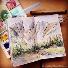 Today's #worldwatercolormonth painting.  Finished up the plein air sketch I had started on site yesterday up at Dream Lake in Rocky Mountain National Park.  Winsor & Newton watercolors and Sakura Micron pen in pocket Leuchtturm1917 sketchbook prepped with Liquitex white gesso.  #the100dayproject #doodleeveryday #dailydoodle2016 #odysseyartdoodles #odysseyartart #odysseyartwatercolors #illustration #art  #sketch #sketchbook #drawing #doodles #leuchtturm1917 #watercolor #pleinair…