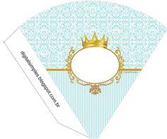 "Kit Personalizado Tema ""Coroa Azul Menino"" para Imprimir - Convites Digitais Simples"