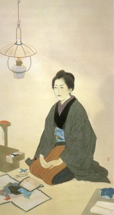Kaburagi Kiyokata, 一葉, 1940. The author Ichiyo Higuchi (1872-1896), wearing a solemn expression and seated under an oil lamp in front of her sewing equipment. Painted by Kiyokata Kaburaki (1878-1972).