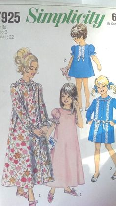 Vtg Simplicity Pattern 7925 Child Girls Robe Nightgown Size 3 Breast 22 FF Uncut