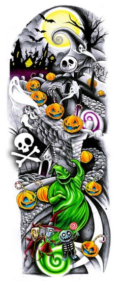 Nightmare before christmas tattoo sleeve design. I would add sally sitting on the moving hill as a silhouette infront of rhe moon