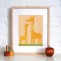 UNFRAMED 11X14 Giraffe Print on Wood by petitcollage on Etsy, $25.00
