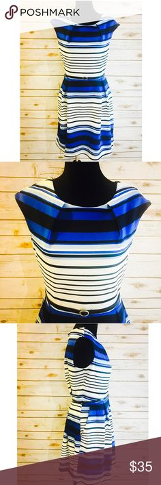 Plus Blue Stripe Pocket Dress w/Belt Beautiful in Blues! Gorgeous blue and black dress with pockets and black slim belt at waist line. Could easily be dressy or casual. NWT and in great shape. Dresses Midi