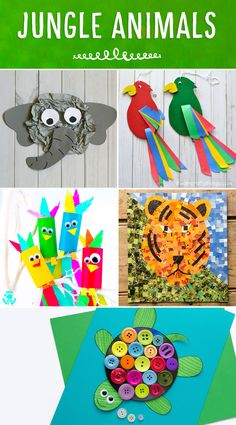Roundup of colorful and fun jungle animals! A great addition to any Jungle or Safari Themed unit! Colorful and fun twirling parrot craft for kids. Great bird craft for a jungle theme unit, fun kids crafts and jungle crafts for kids. Safari Crafts, Jungle Crafts, Farm Animal Crafts, Jungle Art, Animal Crafts For Kids, Jungle Animals, Zoo Crafts, Animal Activities For Kids, Tiger Crafts