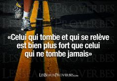Celui qui tombe...(He who falls and gets back up is stronger than the one who never falls.)