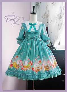 Pumpkin Cat -Spun Sugar Rabbit- Middle Sleeves Lolita OP Dress