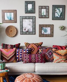 bohemian style decor - not a lot of space for sitting here but i love the look/feel of it.