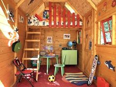 outdoor playhouse plans with loft | No frills here and only a few basics needed in a boy's clubhouse ...