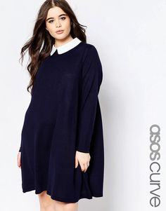 ASOS Curve ASOS CURVE Knitted Swing Dress With Cute Collar
