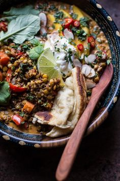Coconut Quinoa and Lentil Curry with Lime Mango