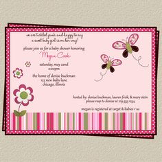 Butterfly Baby Shower Invitation with Flowers, Set of 10 large printed invites with Envelopes, Free shipping. $9.00, via Etsy.
