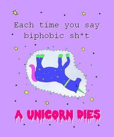 Antibiphobia unicorn sticker by BoyzLoveGlitterz on Etsy, $2.46 #biphobia #bipride #bisexual