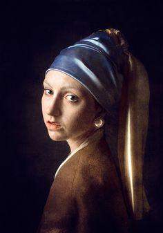Girl with a pearl earring after Vermeer Girl With Pearl Earring, Vermeer Paintings, Bad Art, Dutch Golden Age, Johannes Vermeer, Famous Artwork, Goddess Art, Dutch Painters, Creative Artwork