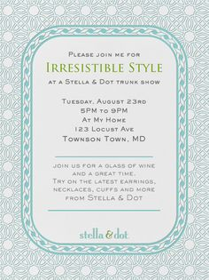 """Stella & Dot Filigree (Teal)"" Invitation, by Stella and Dot, Paperless Post"