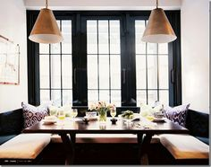 Kitchen/Dining Room - A built-in banquette and a pair of light fixtures in a breakfast nook Kitchen Banquette, Banquette Seating, Dining Nook, Kitchen Nook, Kitchen Dining, Kitchen Seating, Booth Seating, Nook Table, Table Bench