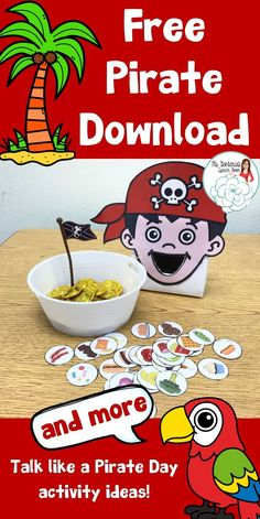 Free Talk Like a Pirate Day; Feed the Pirate; Vocabulary, speech therapy, Ms. Gardenia's Speech Room