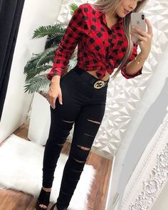 New looks added every day. Red Flannel Outfit, Plaid Shirt Outfits, Dope Outfits, Girly Outfits, Cute Casual Outfits, Outfits For Teens, Fall Outfits, Flannel Outfits Summer, Teen Fashion