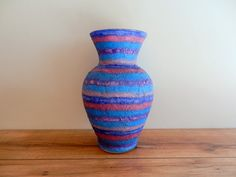 Beautiful color work, dreaming of fields of flax.Purple and Blue Vase  / Handcrafted vase / by CarriageOakCottage