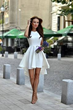 Fairytale Collection Shop White High And Low Skater Dress