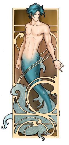 Merman by Anne Cain - I love anything Anne draws, but I especially love her mermen! <3