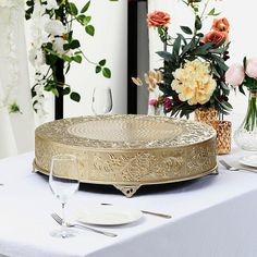 """22"""" Gold Round Embossed Metal Cake Stand Cake Centerpieces, Cake Table Decorations, Elegant Centerpieces, Wedding Cake Stands, Wedding Cake Toppers, Wedding Cakes, Cake Stand Display, Metal Cake Stand, Plate Stands"""
