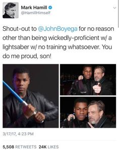 << This makes me so happy. I hope Luke ends up being a father-figure to Finn in the movies. However, I also think Lando is Finn's father. That's a theory I haven't heard yet! Star Wars Jokes, Star Wars Comics, John Boyega, Star War 3, Mark Hamill, Father Figure, Bad Feeling, To Infinity And Beyond, Love Stars