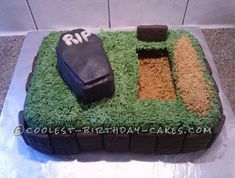 For my husband's birthday party I decided to go with an Over the Hill theme. I searched and searched for ideas for cakes and this is what I came up wi 40th Birthday Parties, Cool Birthday Cakes, Birthday Fun, Birthday Ideas, 50th Party, Birthday Recipes, Funeral Cake, Funeral Party, Cake Cookies