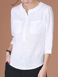 This is Casual Women Half Button Stand Collar Plaid Sleeve Blouse, cotton!
