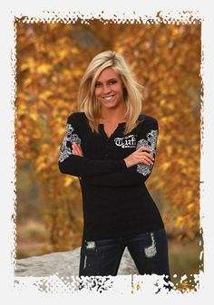 Black henley long sleeve top with crystal crosses and a silver Never Give Up foil by Cowgirl Tuff Co. | Fall 2012