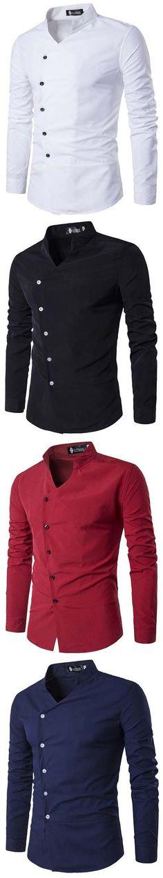Casual Fashion Oblique Asymmetric Stand Collar Designer Shirts for Men New Fashion, Fashion Outfits, Fashion Trends, Fashion Shirts, Mens Kurta Designs, Mens Designer Shirts, Mens Fashion Suits, African Wear, Looks Style