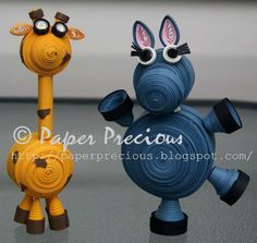 Giraffe and Hippo Quilled Miniatures. $30.00, via Etsy.