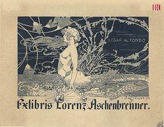 Alexandre de Riquer (1856 -1920). Exlibris Lorenz Aschenbrenner [Material gràfic]: llegar al fondo. 1904. (Biblioteca de Catalunya)