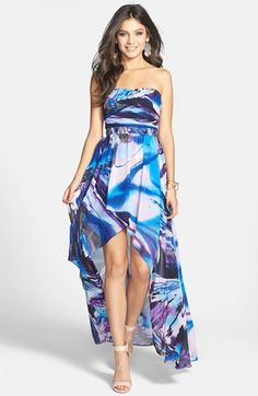 Jump Apparel Strapless High/Low Chiffon Dress (Juniors) available at #Nordstrom