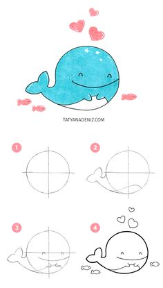 How to draw kawaii whale step-by-step tutorial by Tatyana Deniz drawings step by step How to Draw a Happy Whale (Step-by-step Tutorial) Doodles Kawaii, Cute Kawaii Drawings, Cute Doodles, Cute Animal Drawings, Cute Animals To Draw, Happy Doodles, Kawaii Art, Whale Drawing, Bunny Drawing