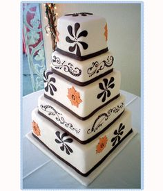 Funky wedding cakes set the tone of your wedding party. Funky cakes can come in all shapes and sizes, colours or styles. Funky Wedding Cakes, Square Wedding Cakes, Wedding Cake Decorations, Beautiful Wedding Cakes, Beautiful Cakes, Amazing Cakes, Dream Wedding, Cupcake Flavors, Cake Gallery
