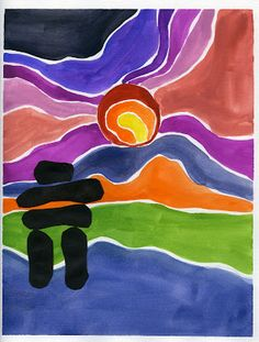 I& going to do some research on Ted Harrison. I think this would be a fun project for Mrs. that artist woman: Painting in the style of Ted Harrison Inuit Kunst, Arte Inuit, Inuit Art, Kunst Der Aborigines, Classe D'art, 3rd Grade Art, Grade 2, Atelier D Art, Ecole Art