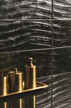 Graphite Wave textured black glass tiles are perfect for creating a bold statement. www.originalstyle.com