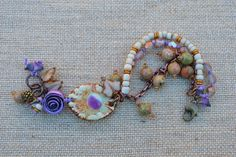 Boho knotted mixed media multi-strand bracelet by DayLilyStudio