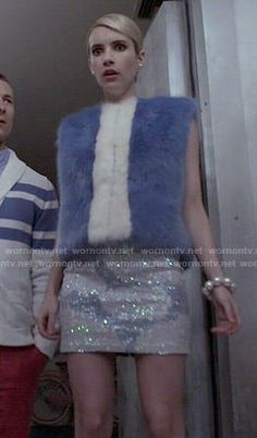 Chanel's blue fur vest and sequinned skirt on Scream Queens. Outfit Details: http://wornontv.net/52149/ #ScreamQueens