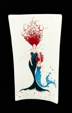 Platter. Mermaid. Caucasian Mermaid Rectangular Platter. Sea. Aqua. Plate. Handmade by Sara Hunter Designs. by BySaraHunter
