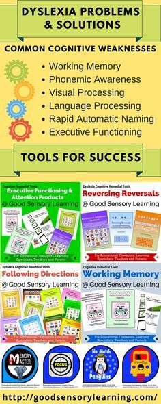 Good Sensory Learning offers a large selection of dyslexia remedial tools that strengthening working memory, executive functioning, visual processing, auditory processing, language processing and rapid automatic naming.